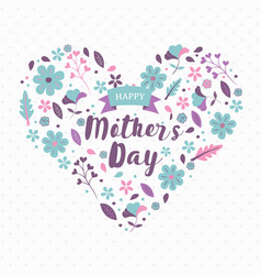 happy mothers day card pink spring flower heart vector image