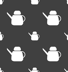 Kettle Icon sign Seamless pattern on a gray vector