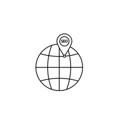 Local seo icon globe with pin symbol vector