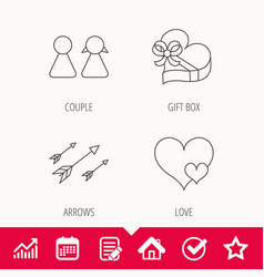 Love heart gift box and couple icons vector