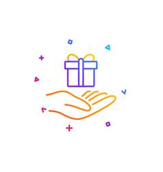 Loyalty program line icon gift box sign vector