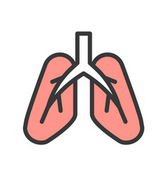 Lung icon organ related set vector