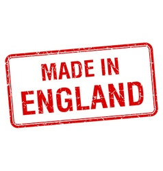 made in England red square isolated stamp vector image