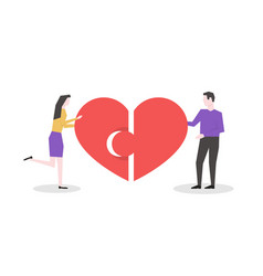 man and woman connect two halves heart vector image