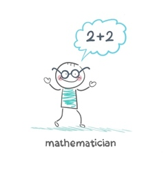 mathematician thinks about solving the problem vector image