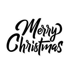 merry christmas brush handwriting lettering vector image