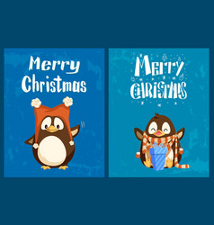 merry christmas cards penguins in hat and scarf vector image