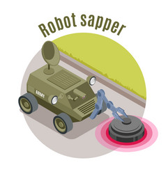Military robots isometric emblem vector