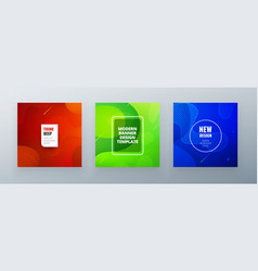 Minimal square banner design colorful halftone vector