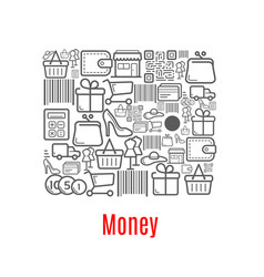 Money purse of shopping retail icons vector