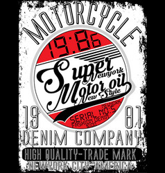 motorcycle company typography t-shirt graphics vector image vector image