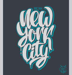new york city lettering design hand written vector image