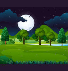Night scene with fullmoon in the park vector