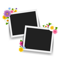 photo frame with retro background with flowers vector image