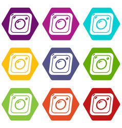 photo icons set 9 vector image