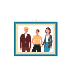 photo parents and teenage child in frame flat vector image