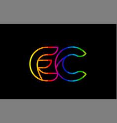 rainbow color colored colorful alphabet letter ec vector image