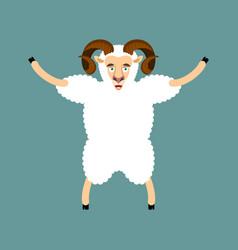 Ram happy sheep merryl emoji farm animal vector