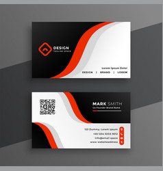 red modern business card design template vector image
