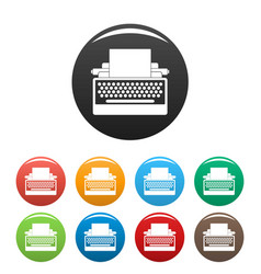 Round button typewriter icons set color vector
