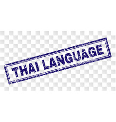 Scratched thai language rectangle stamp vector