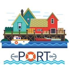 Sea Port vector image