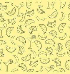 Seamless pattern with bananas and watermelon on vector