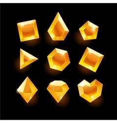 Set of cartoon orange different shapes crystals vector image