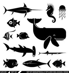 Set of geometrically stylized sea animal icons vector image