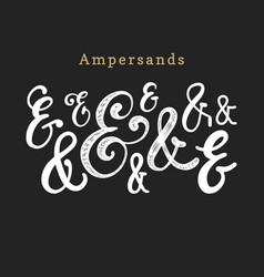 set of handwritten ampersandscalligraphic vector image