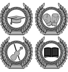 set of symbols of achievement vector image