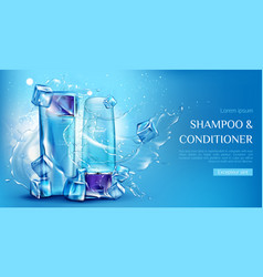 Shampoo and conditioner cosmetic bottles mockup vector