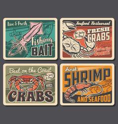 Shrimp crab and squid seafood retro posters set vector