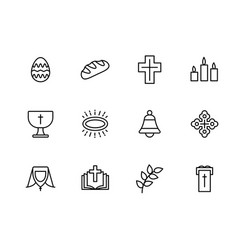 simple set symbols religion and church line icon vector image