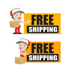 Smile delivery man handling the box and package vector