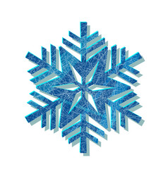 snowflake blue logo with texture scratched vector image