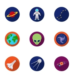 Space set icons in flat style Big collection of vector