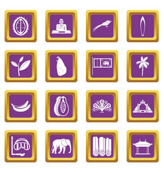 sri lanka travel icons set purple vector image