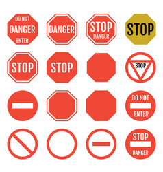 stop signs in red white and yellow traffic sign vector image