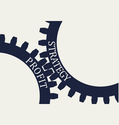 Strategy and profit text on the gears vector
