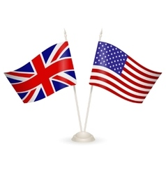 table stand with flags england and usa vector image