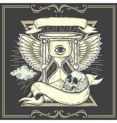Tattoo-art designWingsHourglass Skull Eye of vector image