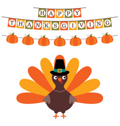 Thanksgiving card with a banner and a turkey vector