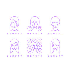 thin line girl head woman face beauty logo vector image
