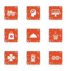 Timetable icons set grunge style vector
