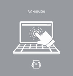touch monitor laptop - flat minimal icon vector image