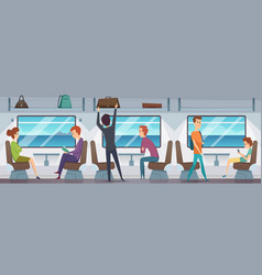 train interior people inside subway transport vector image