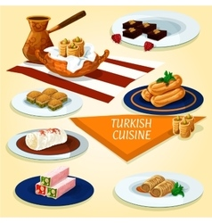 Turkish cuisine delights and desserts icon vector