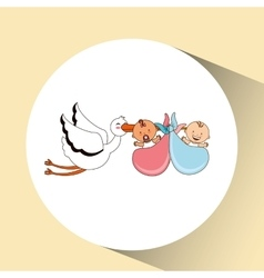 Twins stork birth cartoon design vector