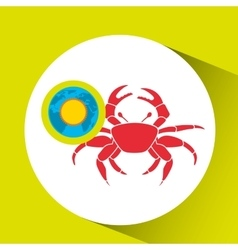 Vacation around world sunny red crab vector